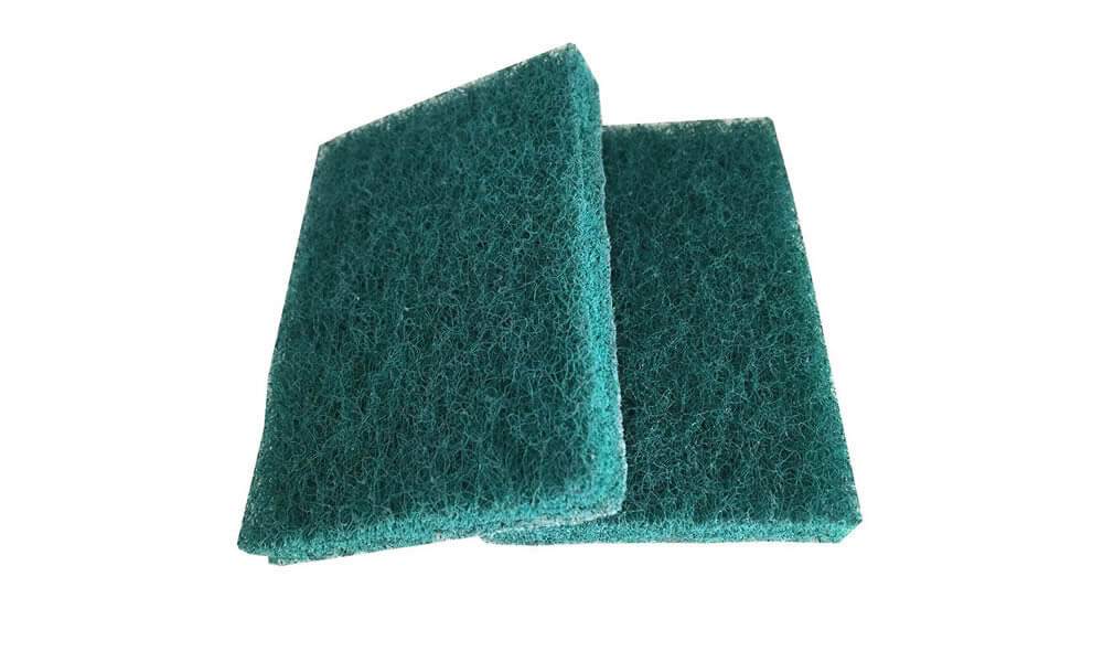 Green industrial scouring pad
